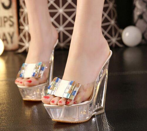 Chic Women/'s High Platform Open OT Wedge Talons transparent Sandales Escarpins Chaussures