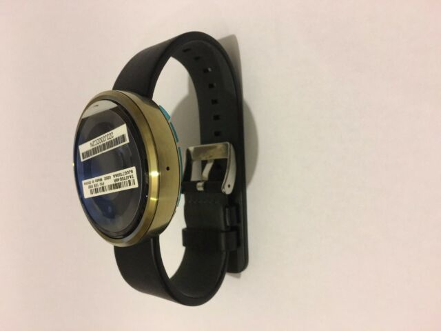 New Motorola Moto 360 Gold With Black Leather Android Smart Watch Activity Track