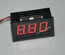 2-wire Digital DC 3.2-30V Voltage Meter Red Self-Powered for 6V 12V Battery