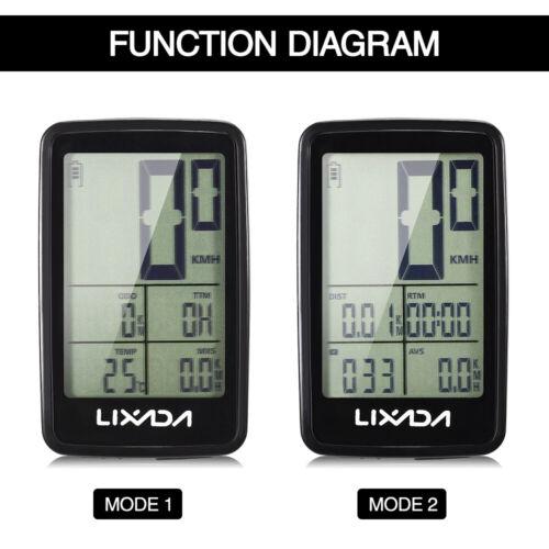Lixada Wireless Bike Computer LED Backlight Bicycle Speedometer USB Rechargeable