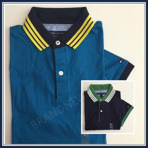 Tommy Hilfiger Men STRIPE TRIM SLIM FIT POLO Teal Blue Navy Blue 100/% cotton NEW