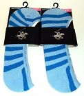2 Pr Beverly Hills Polo Club Foot Socks Fits Shoe Size 4-9 New & Carded BLUES
