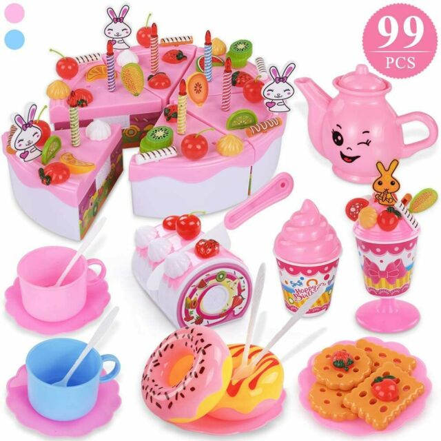99 pcs Kids Toy Pretend Role Play Birthday Party Cake Cutting Sets Children Gift