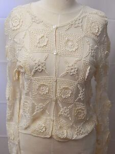 Ivory Crocheted Beaded Women's Blouse, Dressy Women's Shirt by Sharmark - NWT