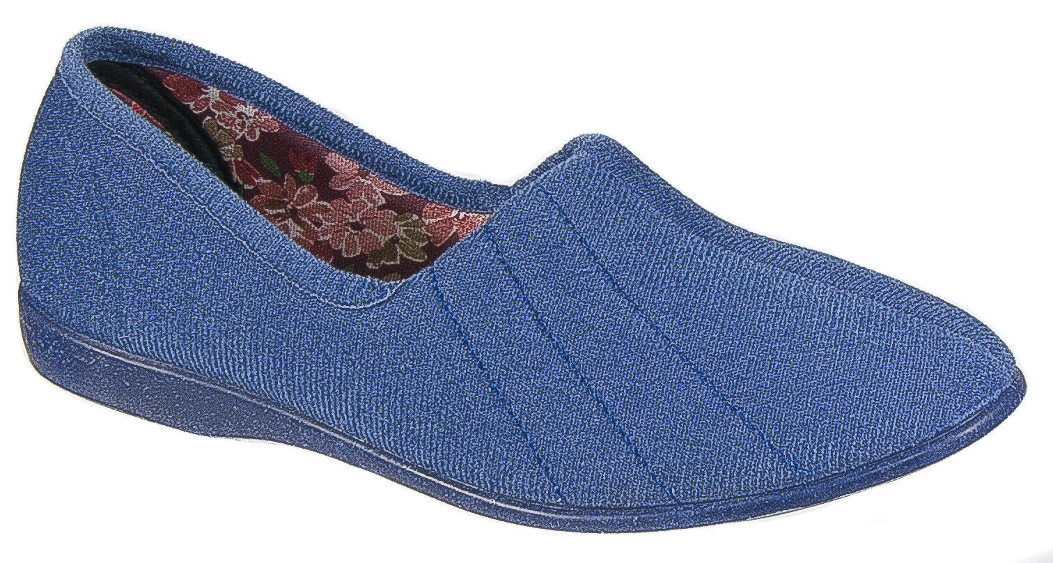Womens Ladies Slip On Slippers / Blueberry Comfortable Rubber Soled GBS