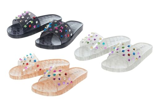 New Women/'s Comfy Diamante Slip on Rubber Casual Flip Flop Slider Slippers Shoes