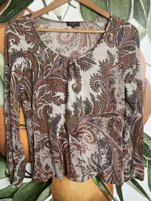 ETRO Size 42 US Large Paisley Print  Wool Blend Long Sleeve Blouse Top