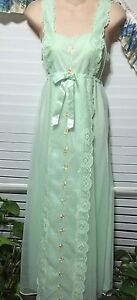 Night Gown Size Small Chiffon Green Shadowline Lace/ Floral Vintage & Stunning
