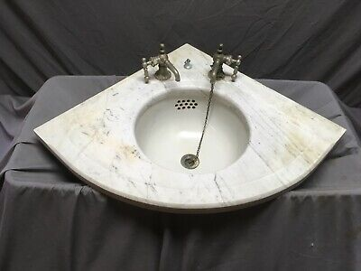 Antique Corner Marble Sink Viterous 12 Round China Basin Old Vintage 75 19e Ebay