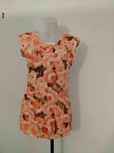 Caroline Morgan Orange Floral Pattern Size 8 Cap Sleeve Dress with side slits