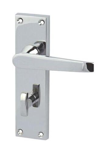 Chrome bath handles Lever Straight bathroom Door Handle pair with WC lock