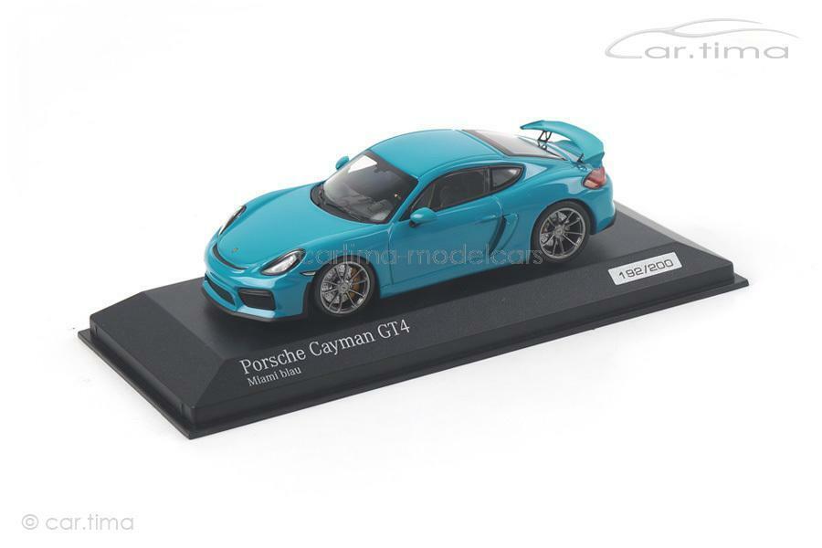 Porsche Cayman gt4-miami azul - 1 of 200-Minichamps-Coche. tima Exclusive-C