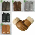Men Winter Gloves Warm Sheepskin Mittens Full Finger Outdoor Motorcycle Gloves