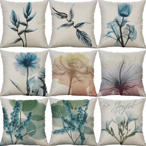 Fancy Flower Cotton Linen Sofa Waist Cushion Cover Pillow Case Home Decor