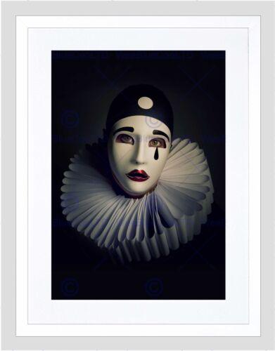 PHOTO PORTRAIT STUDY PERFORMER PIERROT MASK COSTUME FRAMED ART PRINT B12X13343