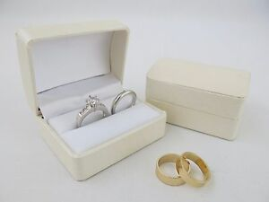 Bride Groom Ring Box Off White Ivory Cream Double Wedding Ring