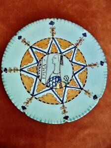 Italian-Majolica-Plate-Hand-Painted-Medieval-Lady-Emma-by-Ilario-Ciaurro-Orvieto