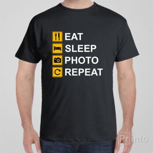 Funny T-shirt EAT SLEEP PHOTO REPEAT photography cool novelty tee shirt