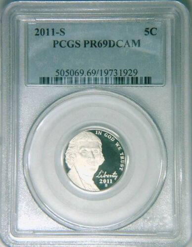 2011-S PCGS PR69DCAM Jefferson nickel DCAM