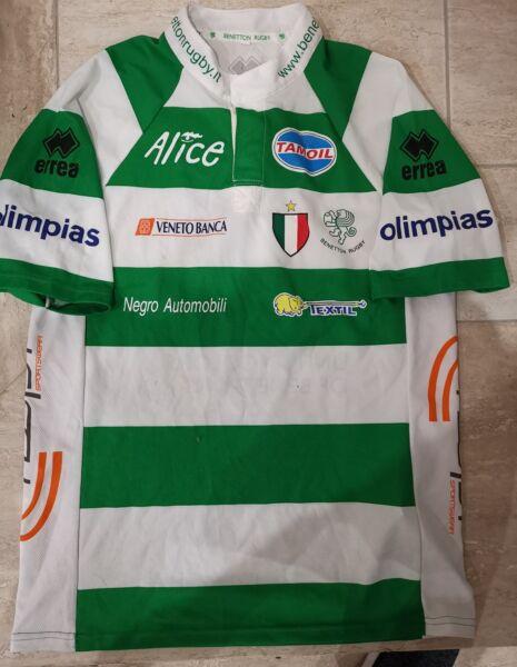 100% Vero Maglia Benetton Treviso Rugby Shirt Errea Match Worn