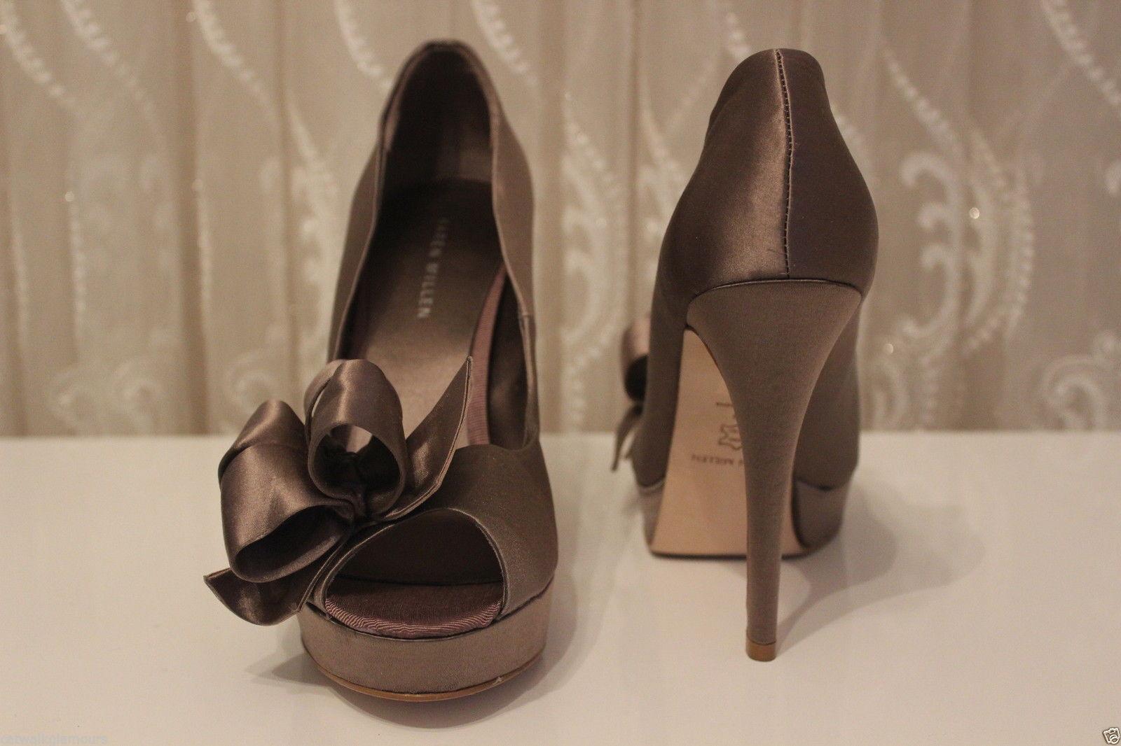 Karen Millen Bow Peep Toe Taupe Platform High Satin Wedding 39 Party Schuhes UK 6 39 Wedding e13cd3