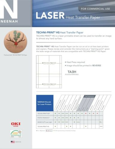 "Hard Surfaces NEENAH TECHNIPRINT HS LASER TRANSFER PAPER 5 SHEETS 8.5/""X11/"""