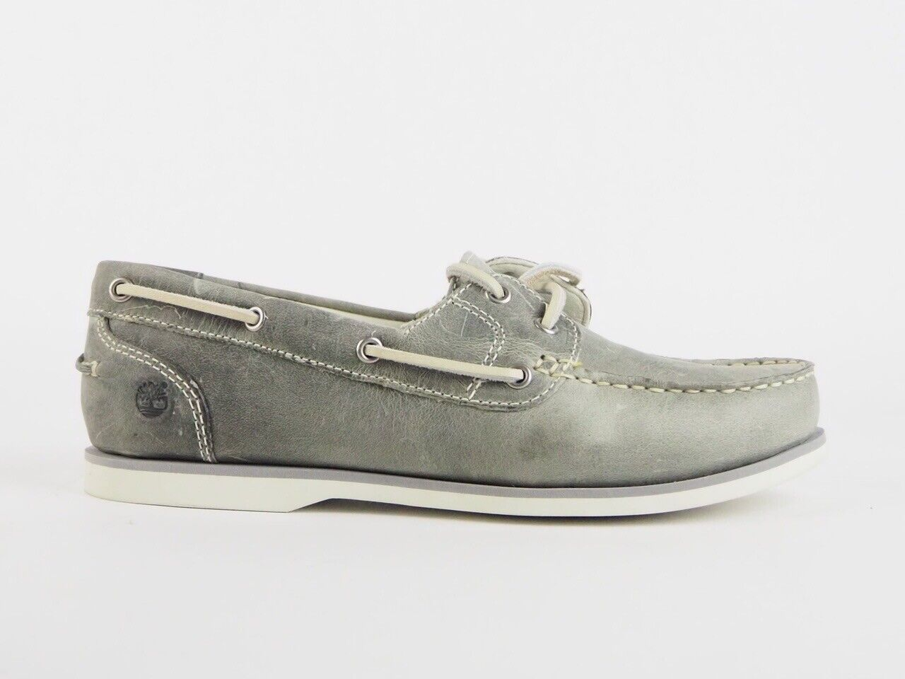 Womens Timberland Damen Amherst 2 Eyed 27618 Grey Leather Lace Up Boat Shoes