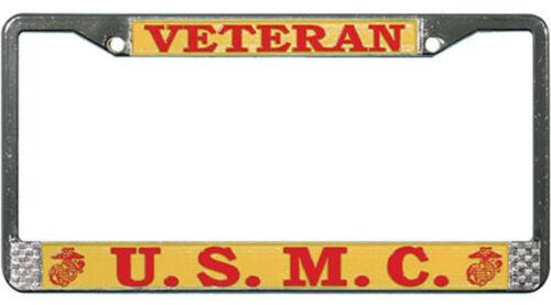 MADE IN THE USA! USMC VETERAN METAL LICENSE PLATE FRAME