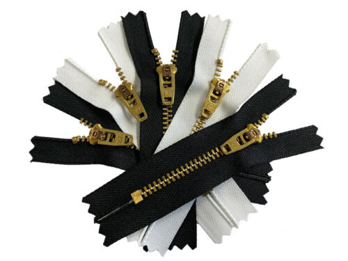 "Jeans Zipper Semi 3/"" to 11/"" YKK #4.5 Brass Pants Auto Lock Slider Black White"