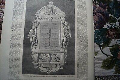 1872 Zeitungsdruck 38 / Stuttgart Gedenktafel Polytechnikum Ausgezeichnete (In) QualitäT