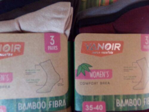 3  paires de chaussettes en bambou femme fille garçon  noir 35-40