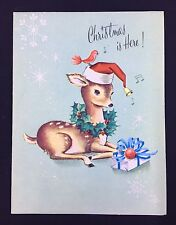 Vintage Christmas Card Gracious Greetings By Dreyfuss Fawn Reindeer Santa Hat
