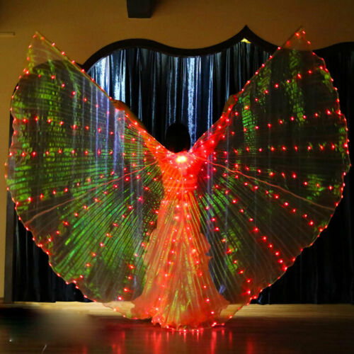 UK LED Dress Belly Dance LED Wings Egyptian Light Up Show Wings Party Club Dress