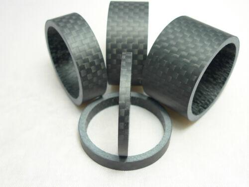 "3mm x 5mm x 10mm x 15mm x 20mm Set Carbon Fibre Matt Spacer Headset 1 1//8/"""
