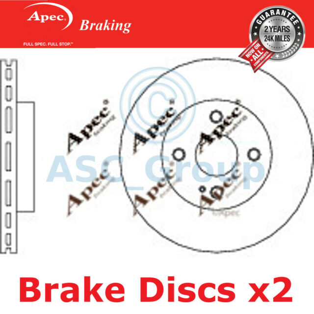 2x Apec Braking 258mm Vented OE Quality Replacement Brake Discs (Pair) DSK2630
