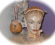 Beautiful 1930's Straw Hat & Matching Reticule Purse *Set* MILLINERY FLOWERS Lot