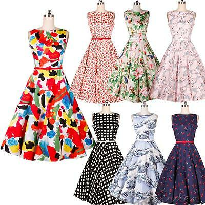 2016 Women Vintage Flower Printed Bodycon Ball Gown Evening Party Cocktail Dress