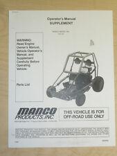 MANCO MODEL 812-00 GO KART PARTS LIST OPERATORS MANUAL CART