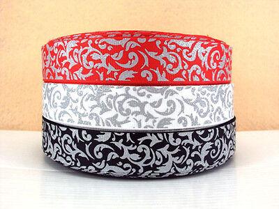 "1m x 7/8"" GLITTER FLOURISH SWIRL BLACK RED WHITE U PICK Grosgrain Ribbon"
