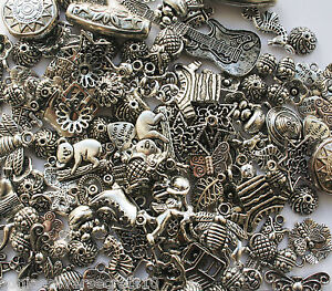 50-Tibetan-Silver-Mixed-Beads-Charms-Random-Selection-Jewellery-Making-Crafts