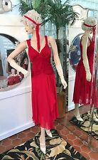 1920s DRESS 1930s FLAPPER Modern Millie GATSBY DOWNTON ABBY RED Drop Waist ML