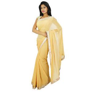 Indische-Bollywood-Hochzeit-Sari-Designer-ethnische-Partei-tragen-Beige-Saree