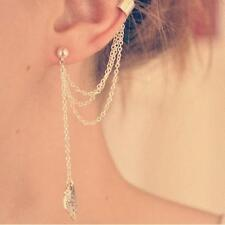 Punk Retro Leaf Charm Gold Chain Link Tassel Ear Cuff clip Stud Earring Dangle