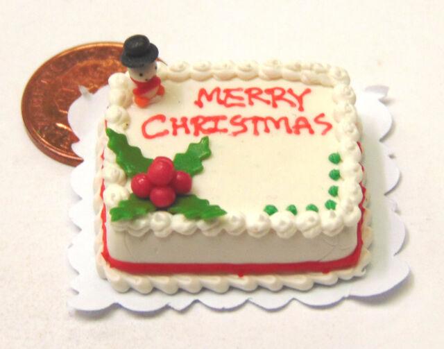 1:12 Scale Oblong Christmas Cake Dolls Miniature House Food Accessory SC14