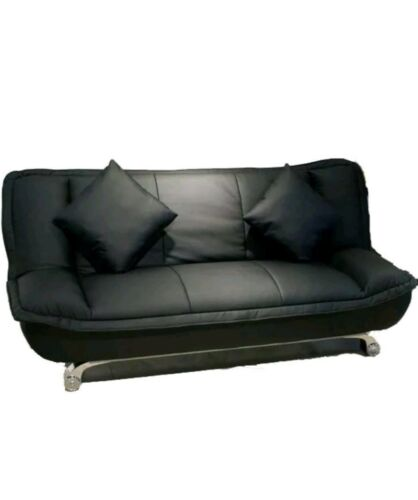 .venice leather sofabed in black two free cushions. 159 free delivery