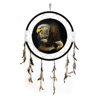 "Giant 26/"" 2 Eagles Soaring Over Dark Nature Scene Dream Catcher Feather 2633"