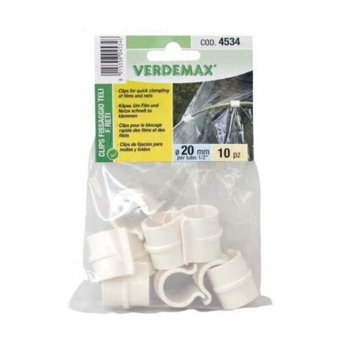 Verdemax clips fissaggio teli reti 10pz ø 20mm x tubo 1//2 /'/' art 4534 serra orto