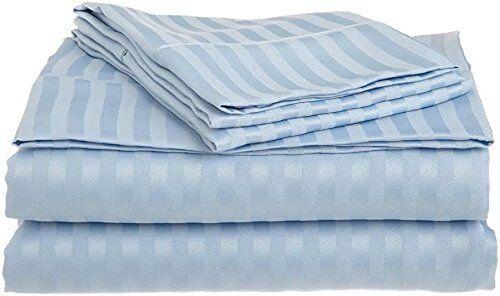 Light Blue Stripe Bedding Item 100/% Cotton Super Deep Pocket 800 Thread Count *