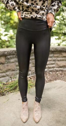 SPANX FAUX LEATHER Black Leggings SIZE XS Petite