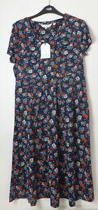 New Women's Seasalt Blue Floral Short Sleeve Dress Size UK 12